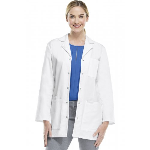 """32"""" Snap Front Lab Coat in White"""