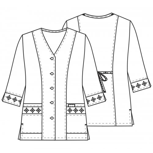 3/4 Sleeve Embroidered Jacket in White