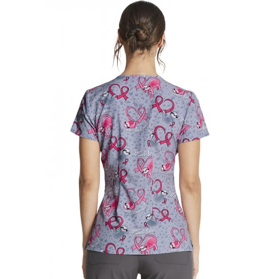 V-Neck Print Top in Care Slow Much